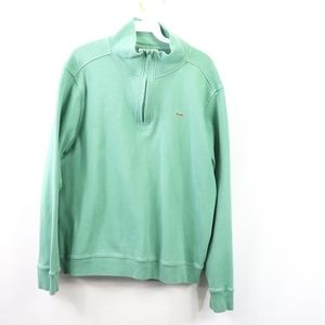 Lacoste Mens Large Half Zip Sweater Green Cotton